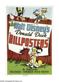 "Movie Posters:Animated, Billposters (RKO, 1940). One Sheet (27"" X 41""). One of Disney'smost famous animated shorts, ""Billposters"" features some of ..."