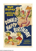 "Movie Posters:Animated, Donald's Happy Birthday (RKO, 1949). One Sheet (27"" X 41""). It'sDonald's birthday and his nephews want to buy him a box of ..."