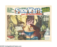 "Snow White and the Seven Dwarfs (RKO, 1937). Lobby Card (11"" X 14""). This is a lovely scene card featuring the..."