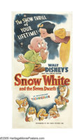 "Movie Posters:Animated, Snow White and the Seven Dwarfs (RKO, R-1943). Three Sheet (41"" X81""). Disney invested $1,500,000 and three years of hard w..."