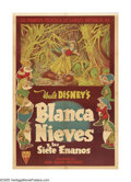 "Movie Posters:Animated, Snow White and the Seven Dwarfs (RKO, 1937). Argentinian One Sheet(27"" X 41""). This is the Argentinian version of the Ameri..."
