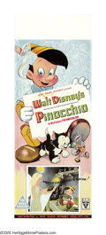 "Movie Posters:Animated, Pinocchio (RKO, 1940). Australian Daybill (15"" X 40""). After ""SnowWhite and the Seven Dwarves"" (1937), this was Disney's se..."