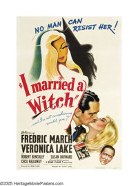 "I Married a Witch (United Artists, 1942). One Sheet (27"" X 4O""). Veronica Lake plays a 17th-century witch who..."
