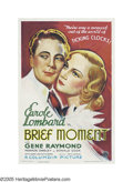 "Movie Posters:Drama, Brief Moment (Columbia, 1933). One Sheet (27"" X 41""). CaroleLombard stars with Gene Raymond in this '30's love story about ..."