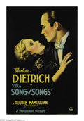 "Movie Posters:Drama, Song of Songs (Paramount, 1933). One Sheet (27"" X 41""). MarleneDietrich plays the embodiment of innocence in her first role..."