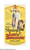 "Movie Posters:Comedy, Lady of Burlesque (United Artists, 1943). Three Sheet (41"" X 81"").Barbara Stanwyck plays a stripper in this movie based on ..."