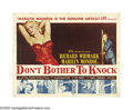 "Movie Posters:Drama, Don't Bother to Knock (20th Century Fox, 1952). Half Sheet (22"" X28""). Marilyn Monroe plays the sultry and very crazy babys..."