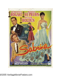 "Movie Posters:Romance, Sabrina (Paramount, 1954). Belgian (14"" X 19""). The colors on thissmall Belgian poster simply dazzle. Audrey Hepburn was ne..."
