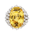 Estate Jewelry:Rings, Ceylon Yellow Sapphire, Diamond, Platinum, Gold Ring . ...