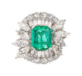 Estate Jewelry:Rings, Colombian Emerald, Diamond, Platinum Ring The ...
