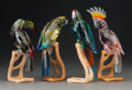 Decorative Arts, Continental, Four Swarovski Crystal and Wood Birds of Paradise 21stcentury. Marks: (swan logo...