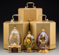 Decorative Arts, Continental, Three Theo Faberge St. Petersburg Collection Eggs in OriginalBoxes, late 20th century. Marks: (various marks). 6-1/2 inches...(Total: 3 Items)