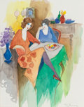 Works on Paper, Itzchak Isaac Tarkay (Serbian/Israeli, 1935-2012). Two Women Conversing. Watercolor and ink on paper. 11-1/4 x 9 inches ...