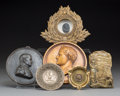 Decorative Arts, Continental:Other , Six Mixed Media Napoleonic Medallion and Tablewares, late 19thcentury and later. 5-1/2 inches diameter (14.0 cm) (largest, ...(Total: 6 Items)