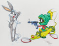 Animation Art:Production Drawing, Virgil Ross - Bugs Bunny, K-9, and Marvin the Martian DrawingOriginal Art (Warner Brothers, c. 1990s).. ...