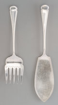 Silver & Vertu:Flatware, A Two-Piece Cased Charles James Allen & Sidney Darwin Sheffield Plate Fish Serving Set, circa 1895. Marks: A&D, S, (hour... (Total: 3 Items)