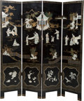 Asian:Japanese, A Chinese Four-Panel Lacquered and Inlaid Room Screen. 72 incheshigh x 63 inches wide (182.9 x 160.0 cm). ...
