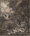 Fine Art - Work on Paper:Print, Rembrandt van Rijn (Dutch, 1606-1669). The angel appearing tothe shepherds, 1634. Etching, engraving and drypoint on pa...