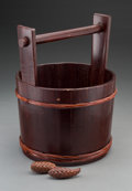 Asian:Chinese, A Chinese Wooden Bucket with Carved Wood Accoutrements. 16 incheshigh x 13-3/4 inches wide (40.6 x 34.9 cm) (pail). ... (Total: 3Items)