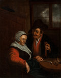 Paintings, After Adriaen van Ostade . Man Courting Woman. Oil on canvas. 32 x 24-1/2 inches (81.3 x 62.2 cm). ...