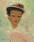 Paintings, Leroux (French, 20th Century). Elegant Lady. Oil on canvas. 10-1/2 x 8-3/4 inches (26.7 x 22.2 cm). Signed lower left: ...