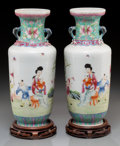 Asian:Chinese, A Pair of Chinese Enameled Porcelain Vases on Hardwood Stands,probably early Republic Period. Marks: Four-character Qianlon...(Total: 2 Items)