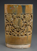 Asian:Chinese, A Chinese Glazed and Reticulated Earthenware Vase. Marks: (incisedsignature). 13-5/8 h x 9 w x 4-3/4 d inches (34.6 x 22.9 ...