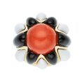 Estate Jewelry:Rings, Coral, Enamel, Gold Ring  The ring features a ...