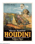"Movie Posters:Miscellaneous, Houdini ""Buried Alive"" (Otis Litho, 1926). Eight Sheet (106"" X81""). The legendary illusionist Harry Houdini managed one fin..."