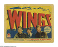 "Movie Posters:War, Wings (Paramount, 1927). Title Lobby Card (11"" X 14""). Formeraviator William Wellman, only 28, directed this war picture, t..."