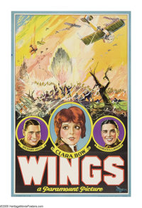 "Wings (Paramount, 1927). One Sheet (26"" X 40.25"") Style D. William Wellman was born to direct the 1927 blockbu..."
