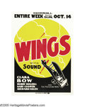 """Movie Posters:War, Wings (Paramount, R-1928). One Sheet (27"""" X 41""""). Offered in thislot is the """"other company"""" one sheet to the classic Academ..."""