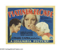 "Movie Posters:Drama, Platinum Blonde (Columbia, 1931). Title Lobby Card (11"" X 14"").Frank Capra directed this social drama about a reporter (Rob..."