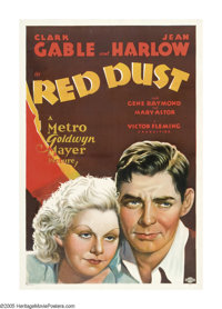 """Red Dust (MGM, 1932). One Sheet (27"""" X 41""""). Clark Gable runs a rubber plantation and Jean Harlow plays a work..."""