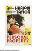 "Movie Posters:Romance, Personal Property (MGM, 1937). One Sheet (27"" X 41"") Style C. JeanHarlow and Robert Taylor star in this light-hearted roman..."