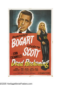 "Dead Reckoning (Columbia, 1947). One Sheet (27"" X 41""). Humphrey Bogart is cast opposite the sultry Lizabeth S..."