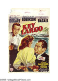 "Movie Posters:Film Noir, Key Largo (Warner Brothers, 1948). Belgian (14"" X 21.5""). HumphreyBogart and Lauren Bacall headline an all-star cast that i..."