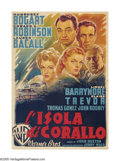 "Movie Posters:Film Noir, Key Largo (Warner Brothers, 1948). Italian (55"" X 78""). HumphreyBogart and Lauren Bacall's final film together found them i..."