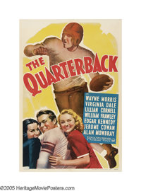 """The Quarterback (Paramount, 1940). One Sheet (27"""" X 41""""). Wayne Morris plays the dual role of twin brothers, o..."""