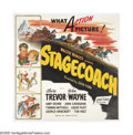 "Movie Posters:Western, Stagecoach (United Artists, R-1944). Six Sheet (81"" X 81""). JohnFord established John Wayne's place in the industry (and hi..."
