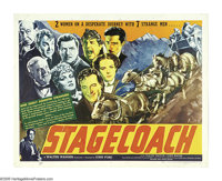 "Stagecoach (United Artists, 1939). Half Sheet (22"" X 28""). Relegated to second-bill Westerns for the first ten..."