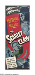 "Movie Posters:Mystery, The Scarlet Claw (Universal, 1944). Insert (14"" X 36""). A legendaryglowing monster has been stalking the moors, and several..."