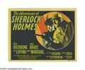 "Movie Posters:Mystery, The Adventures of Sherlock Holmes (20th Century Fox, 1939). TitleLobby Card (11"" X 14""). This was the last of the two perio..."