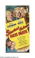 "Movie Posters:Mystery, Sherlock Holmes Faces Death (Universal, 1943). Three Sheet (41"" X81""). At a convalescent home where Dr. Watson has voluntee..."