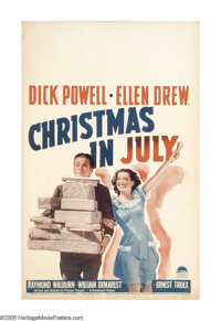 """Christmas in July (Paramount, 1940). Window Card (14"""" X 22""""). Based on his play """"A Cup of Coffee"""" (1..."""