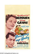 "Movie Posters:Comedy, Bringing Up Baby (RKO, 1938). Midget Window Card (8"" X 14""). CaryGrant became Howard Hawks' favorite whipping boy, as the d..."
