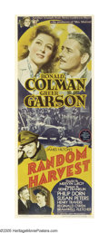"""Movie Posters:Romance, Random Harvest (MGM, 1942). Insert (14"""" X 36""""). Actress Greer Garson, producer Sidney Franklin and writer James Hilton had a..."""