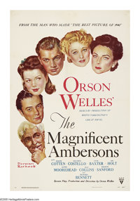 "Magnificent Ambersons, The (RKO, 1942). One Sheet (27"" X 41""). Claimed by many critics and Welles afficionados..."