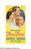 """Movie Posters:Drama, These Three (United Artists, 1936). Three Sheet (41"""" X 81""""). When told that the leading characters of Lillian Hellman's Broa..."""