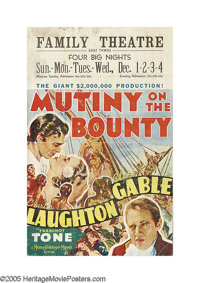 "Mutiny On The Bounty (MGM, 1935). Window Card (14"" X 22""). ""I'll live to see you -- all of you -- hung fr..."
